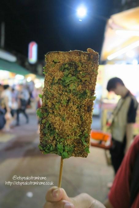 pig blood rice cake in raohe street night market