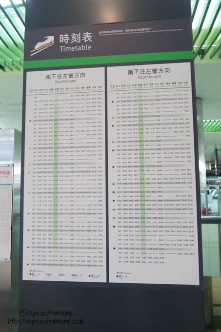 taipei thsr southbound timetable