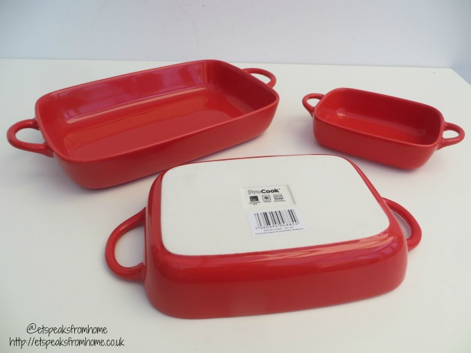 Pro Cook Stoneware Oven-to-Table Pieces red rectangle set of three