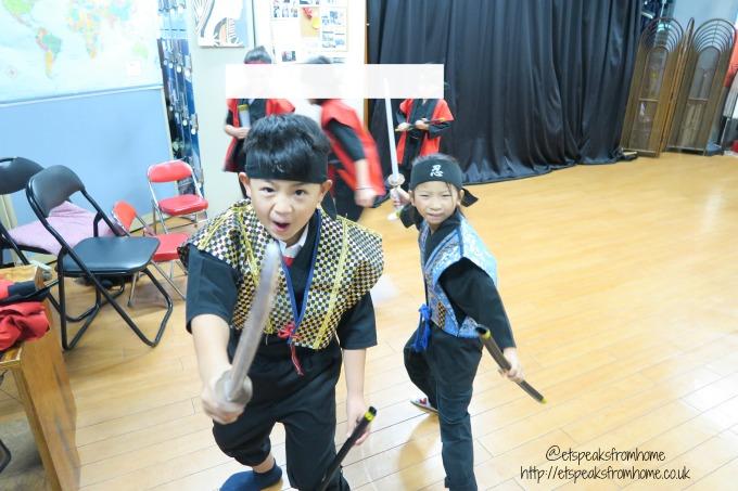 Learning Samurai in Osaka practising