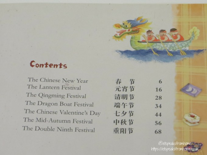Celebrating Chinese Festivals Book contents