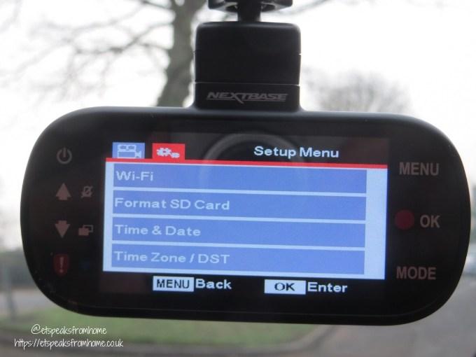 nextbase 512GW dash cam set up menu