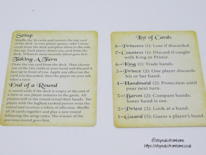 love letter game list of card