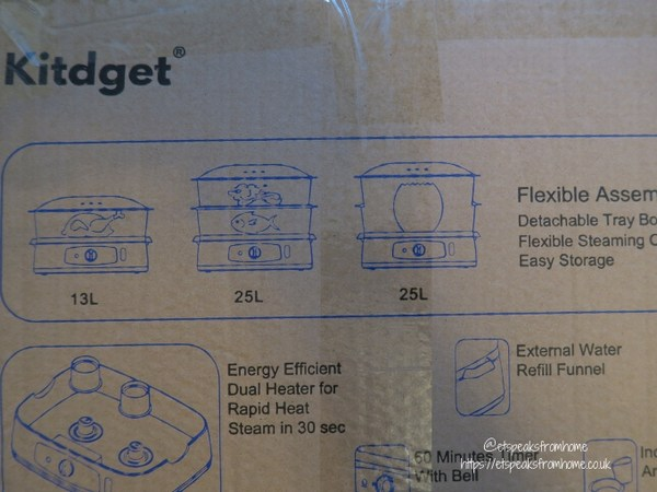 Kitdget 25L Professional Food Steamer size