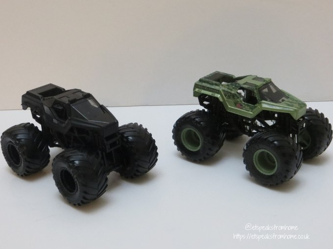 monster jam die cast Soldier Fortune vs Soldier Fortune Black Ops