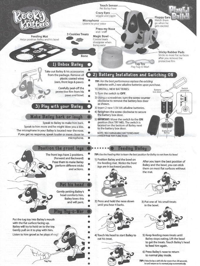 Kooky Kritters Playful Bailey instructions