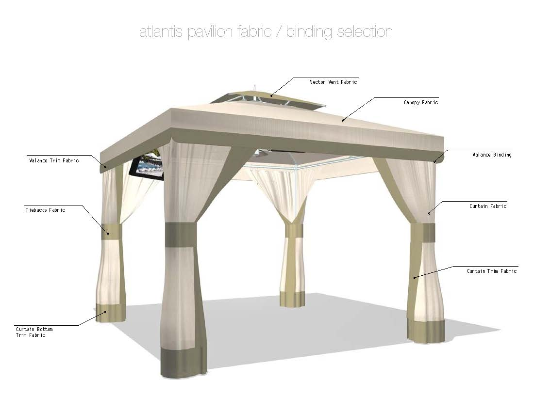 Atlantis Pavilion Standard Pool and Patio Cabana  COMMERCIAL USE ONLY  ETT Distributors