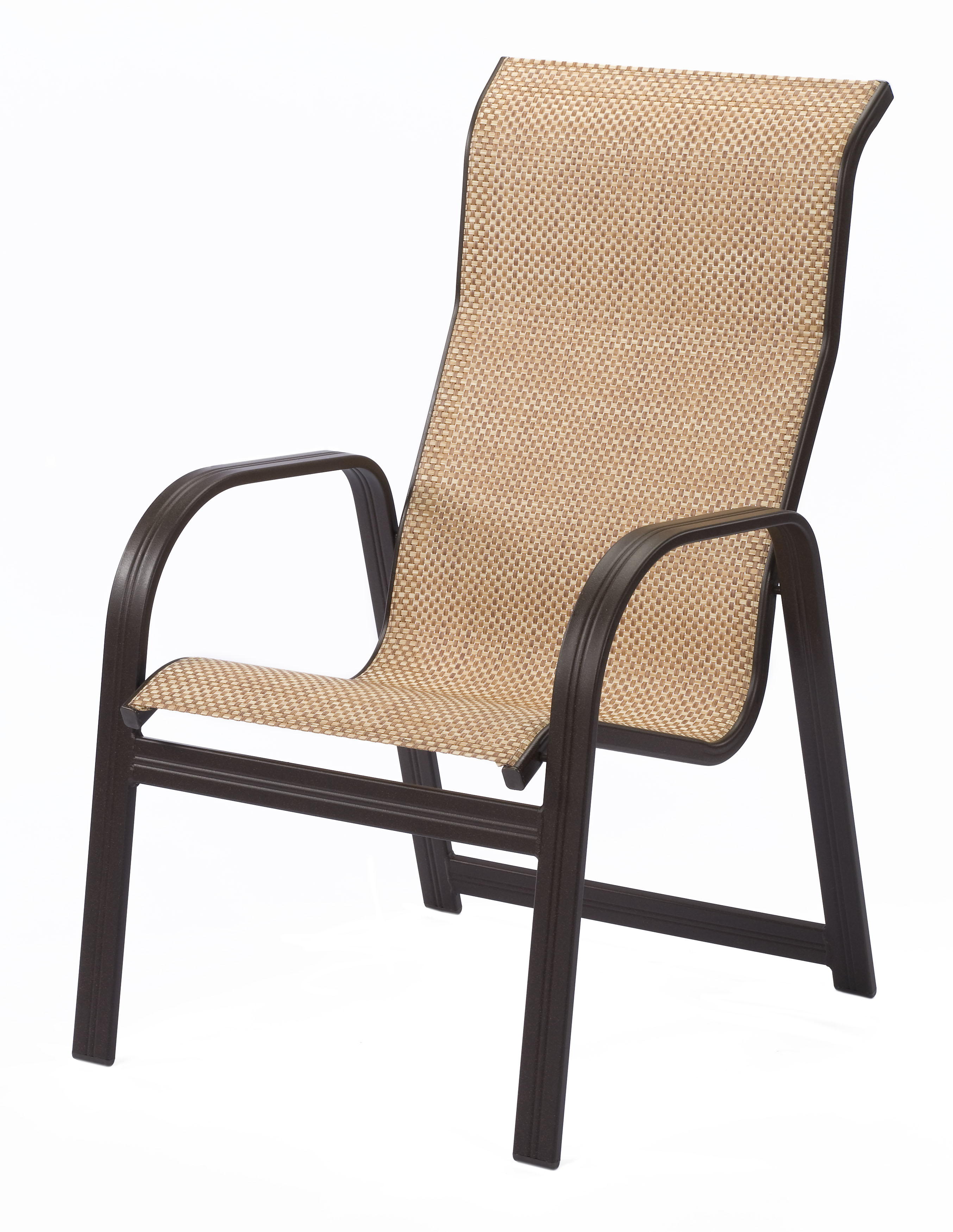 whbbt cabo sling high back aluminum dining arm chair
