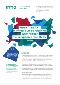 ETTG paper DIE/ECDPM/ACET on Green Transitions in Africa and Europe
