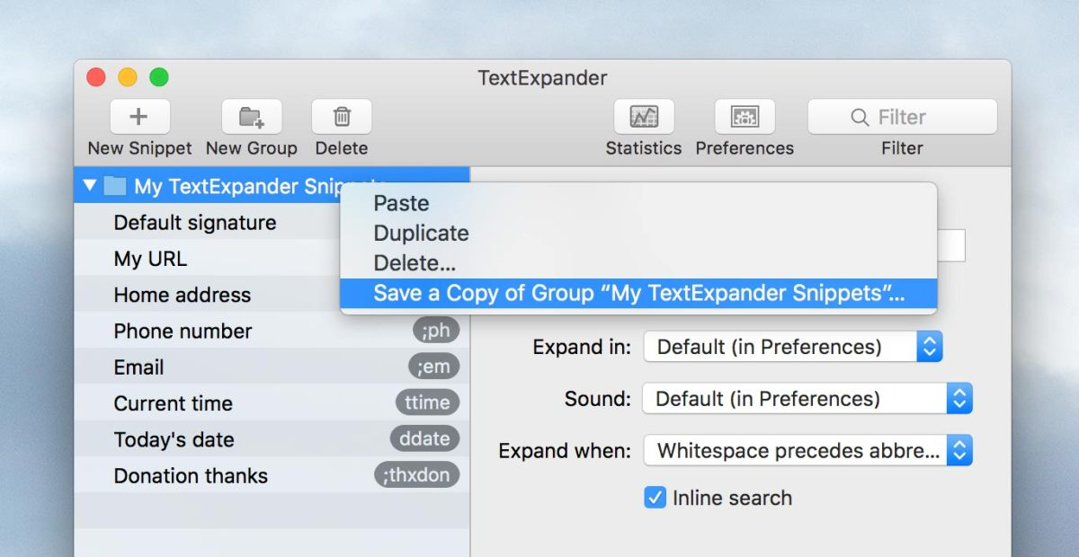 Save a Copy of your TextExpander group to the desktop