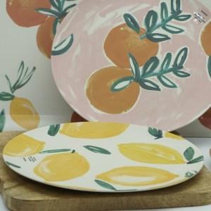 Assiette plate citron citrus fibres de bambou Etxe Mia!