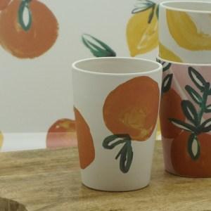 Gobelet orange citrus fibres de bambou Etxe Mia!
