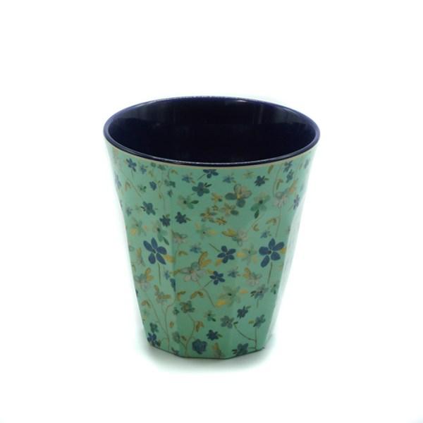 Gobelet Rice petites fleurs fond vert Etxe Mia!