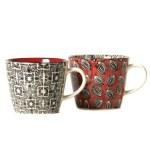 Tasses thé grises et rouge Etxe Mia!