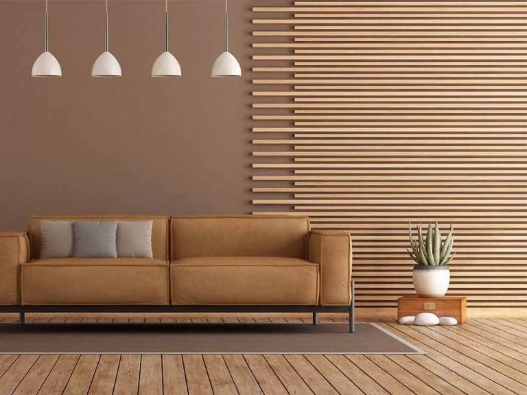 חיפוי עץ לקיר בסלון