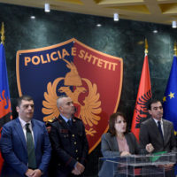 Head of the Serious Crime Prosecution Office Donika Prela (third right) and General Director of the Albanian Police Ardi Veliu (third left) at a press conference in Tirana on Monday. Photo: Gent Shkullaku/LSA