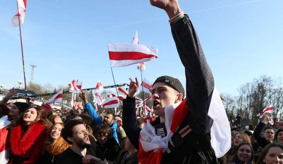 Pro-democracy protesters demonstrate in Minsk, Belarus