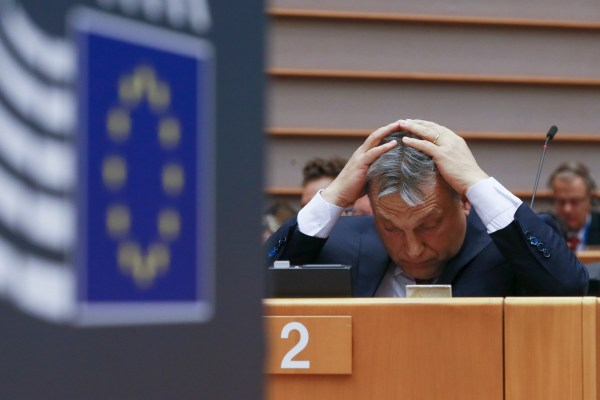 epa05928952 Hungarian Prime Minister Viktor Orban gestures at a plenary session of the European parliament in Brussels, Belgium, 26 April 2016. The session will focus on the political situation in Hungary, including legislative measures that could force the closure of the Central European University in Budapest.