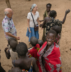 Philip and Linda Byler visit with Laarim villagers