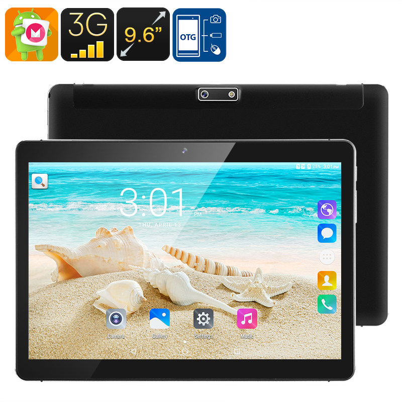 3G Android Tablet PC - 9.6 Inch HD Display, Android 6.0, Dual-IMEI, 3G, Google Play, OTG, Quad-Core CPU, 4500mAh, 2.1MP Camera