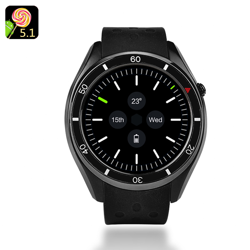 IQI I3 Android Smartwatch - 1.39-Inch Display, 4GB Memory, Quad-Core CPU, Google Play, 3G, Pedometer, Heart Rate Sensor (Black)