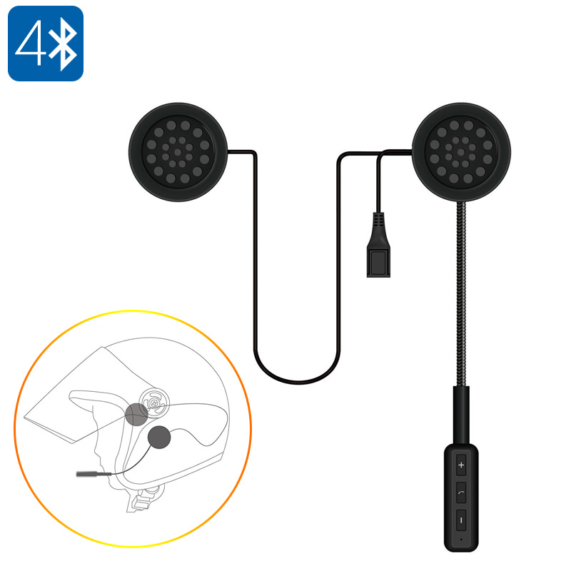 Bluetooth Motorcycle Headset - Bluetooth 4.0, Build-in Mic, Hands Free Calls, Music, 10M Bluetooth Range, 150mAh Battery