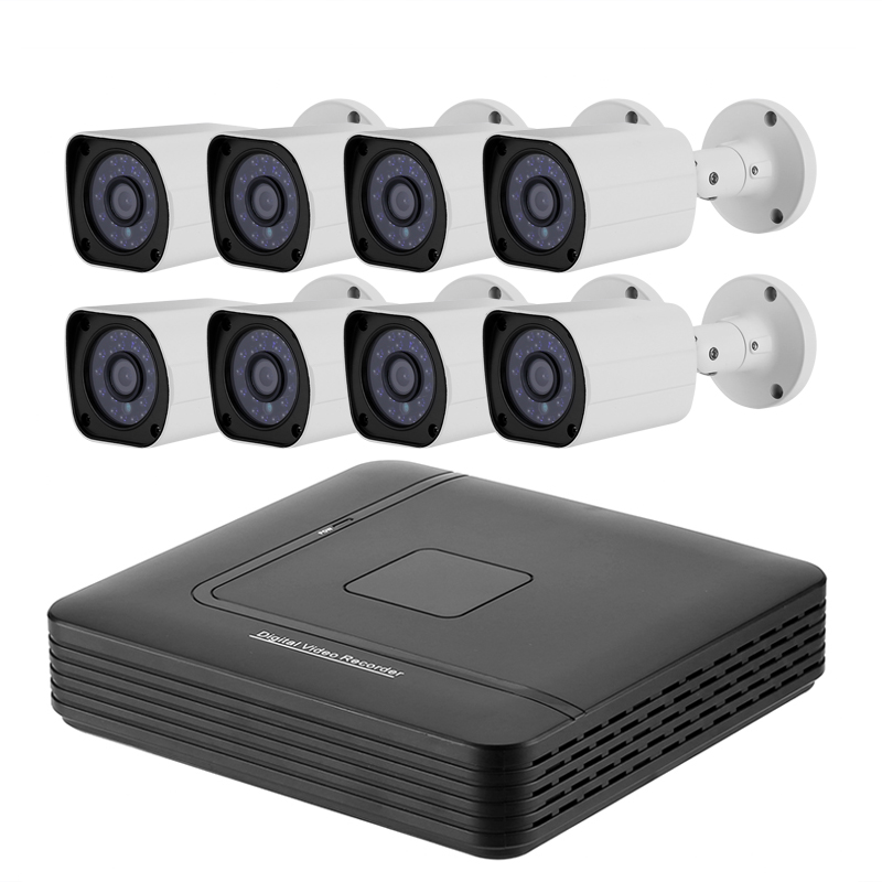 8 Channel Full-HD AHD DVR System - 1/2.7 CMOS, 1080p Resolution, 20M Night Vision, IP66 Waterproof, 5 Recording Modes, 1TB HDD