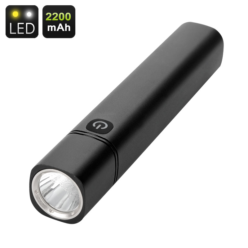 CREE LED Flashlight And Powerbank - 350 Lumen, 700K Light, 2200mAh Battery, USB Port, Back Lit Button