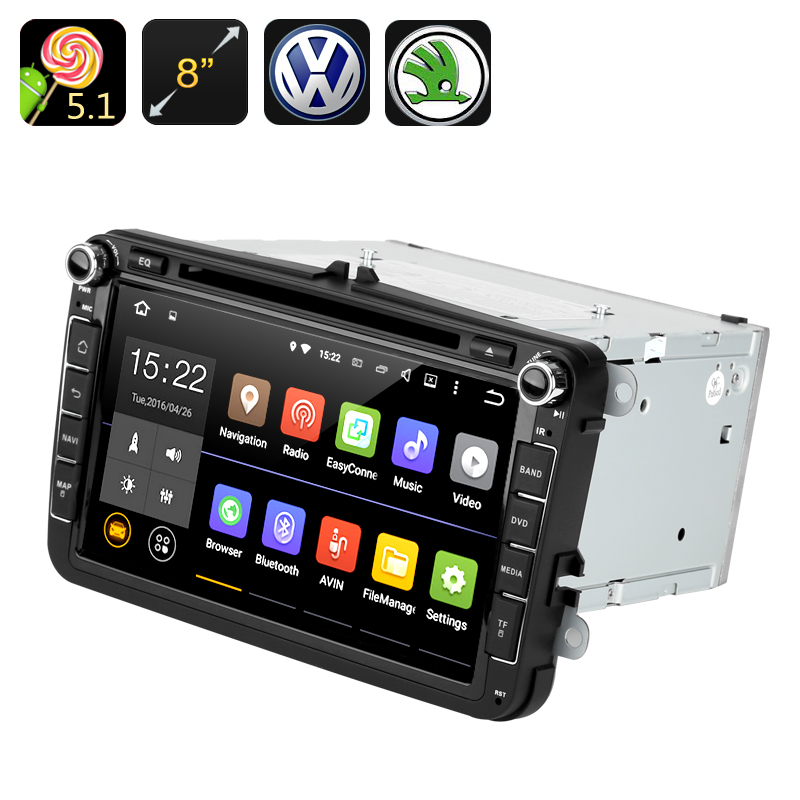 Android 5.1 Car DVD Player - GPS, Quad Core CPU, 8 Inch Touch Screen, CAN BUS, VW + Skoda Cars