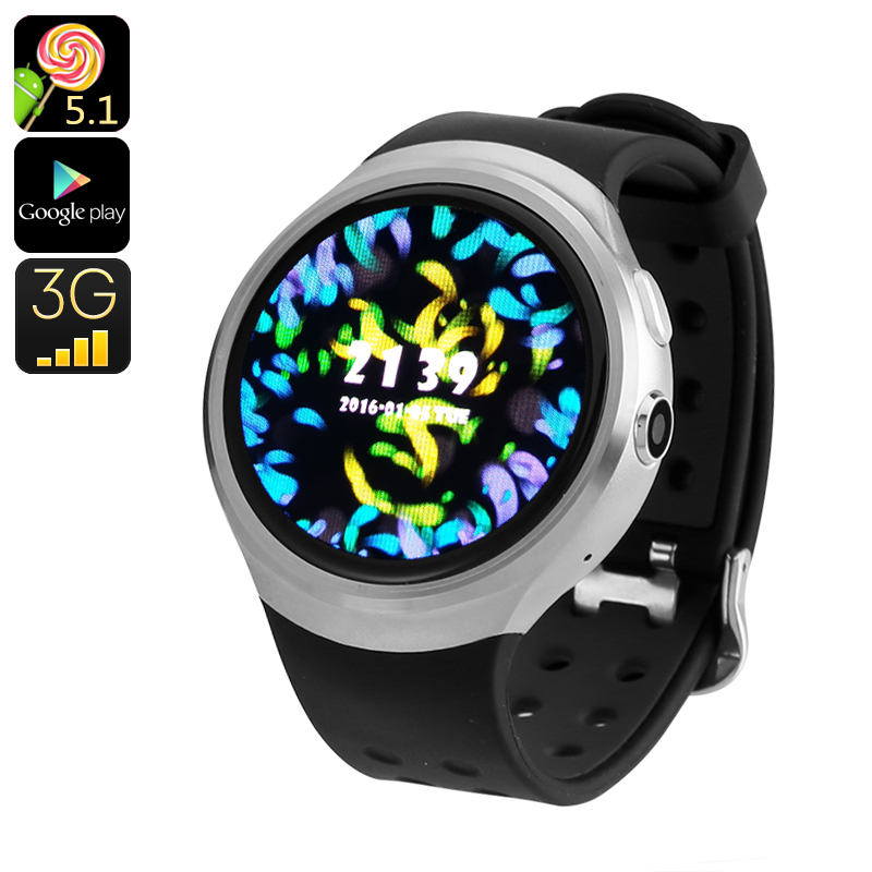 Z10 Android Watch Phone - GPS, Android 5.1, Quad Core CPU, Google Play, OK Google, 3G SIM, Bluetooth (Silver)