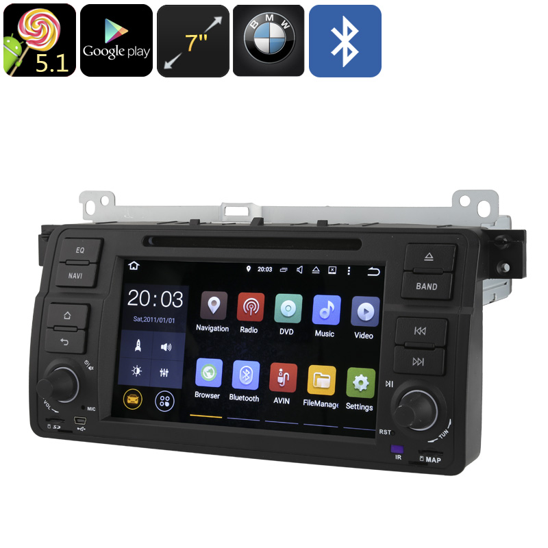 1 DIN Car DVD Player For BMW 3 Series E46 - GPS, 7 Inch Touch Screen, Android OS, Bluetooth, Google Play, Quad-Core CPU