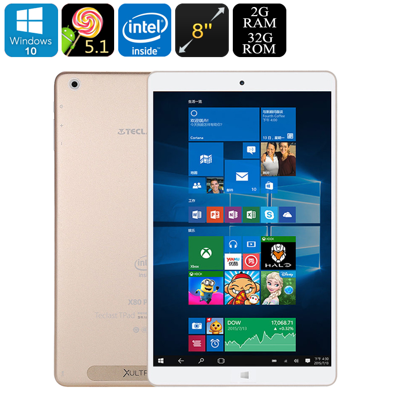 Teclast X80 Power Dual-OS Tablet PC - Windows 10, Android 5.1, Quad-Core CPU, Google Play, HDMI Out, 2GB RAM, 8-Inch FHD Display