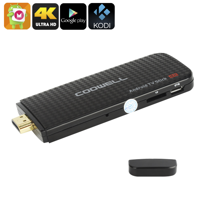 4K Android TV Stick - Android 6.0, Miracast, Airplay, Quad-Core CPU, Penta-Core Mali-450 GPU, Kodi TV, Google Play