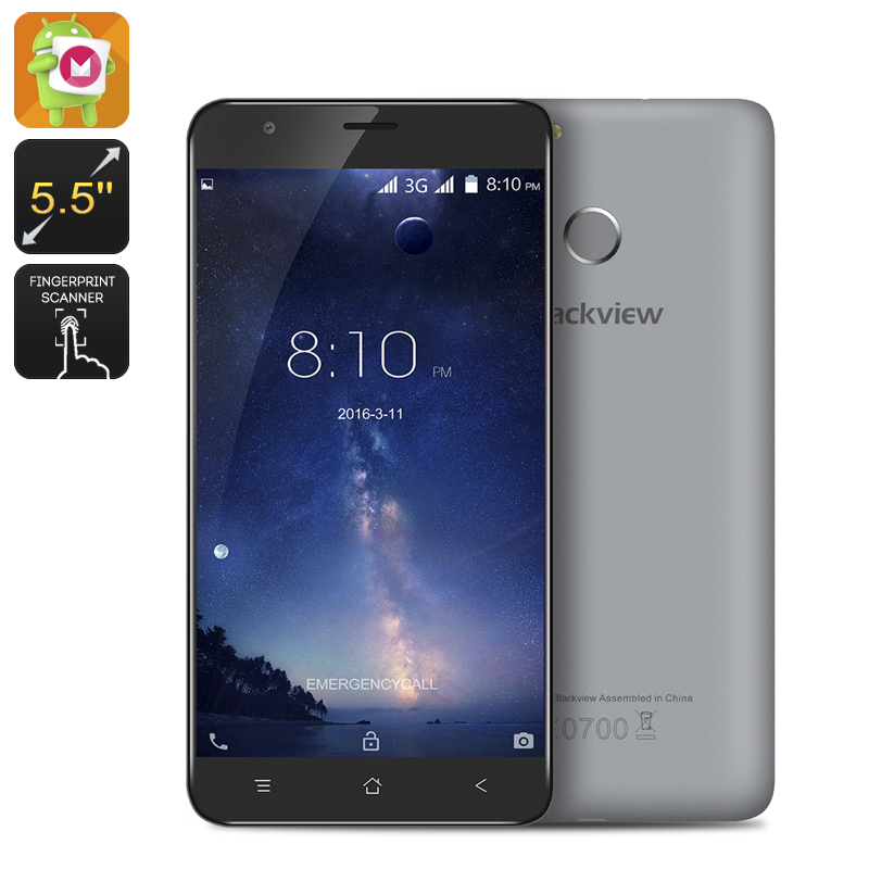 HK Warehouse Blackview E7S Smartphone - Quad Core CPU, 2GB RAM, 5.5 Inch Display, 8MP Camera, Fingerprint, Android 6.0 (Grey)