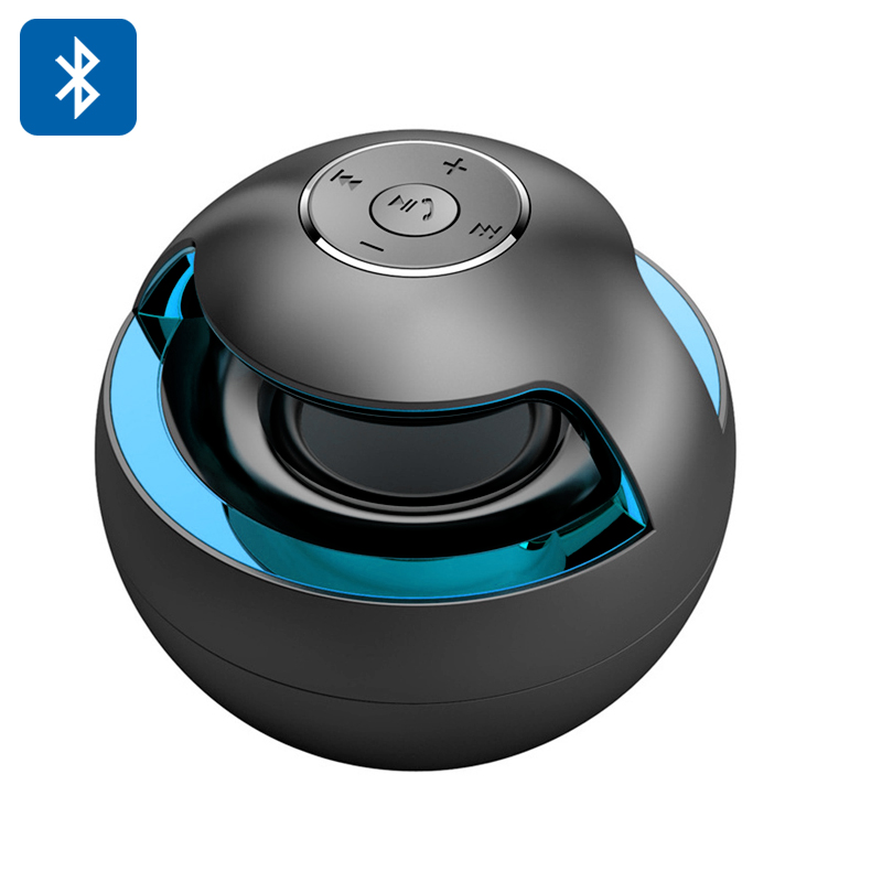 Portable Bluetooth Speaker 'Magic Black Ball' - Stereo Sound, LED lights, Bluetooth 2.1 + EDR, 500mAh Battery (Black)