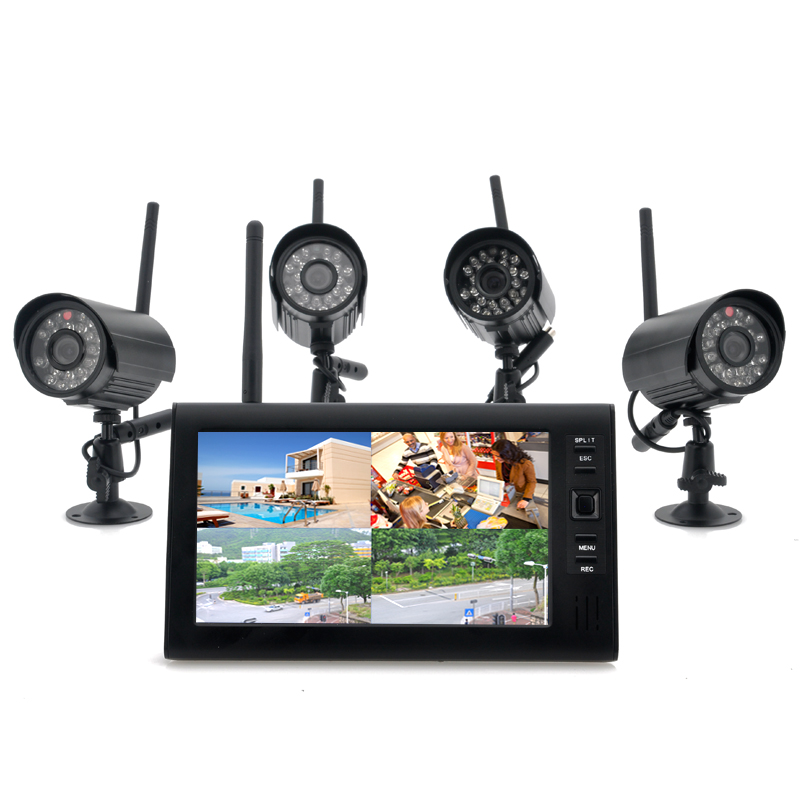 Wireless Home Security Camera System 'Securial' - 4x Indoor Wireless Cameras, 7 Inch Wireless Monitor, Built-in DVR