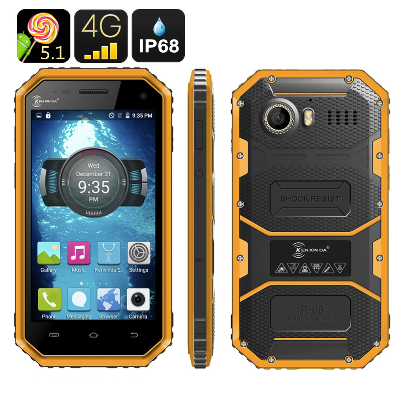HK Warehouse Ken Xin Da W6 Rugged Smartphone - IP68 Waterproof, Dust Proof, Shock Proof, 4G, Android 5.1, Dual SIM (Yellow)