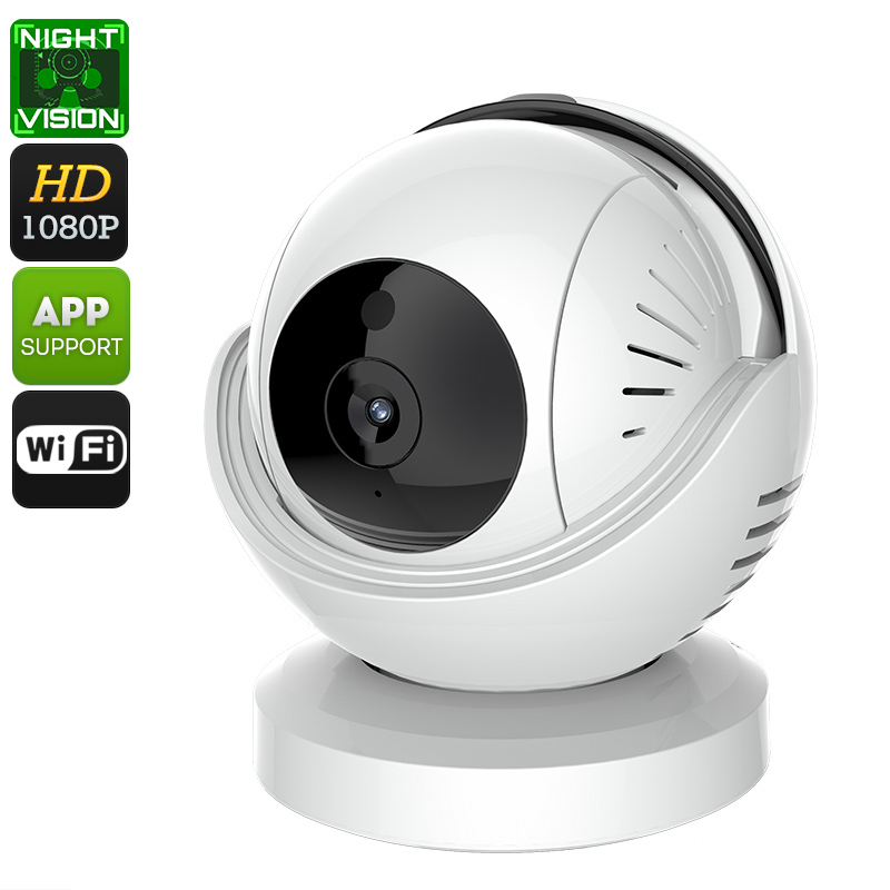 1080p Indoor IP Camera - 1/3 Inch CMOS, IR Cut, 5M Night Vision, WiFi, App Support, PTZ, Motion Detection, Dual-Audio