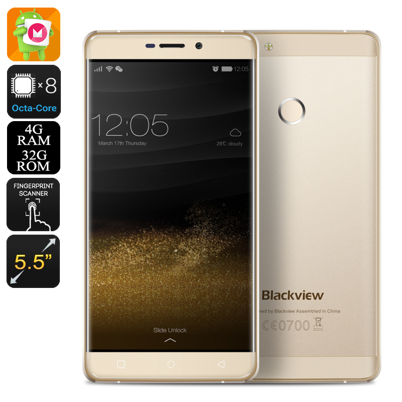 HK Warehouse Blackview R7 Smartphone - Android 6.0, Octa Core Helios P10 chipset, 4GB RAM, Dual SIM, 4G, 5.5 Inch Screen (Gold)