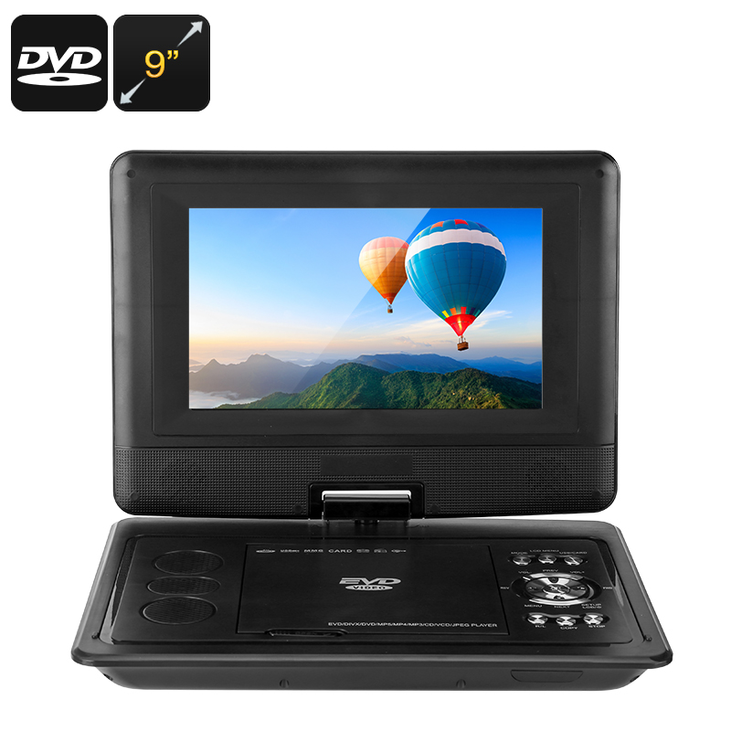 9-Inch Portable DVD Player - Universal Disc Support, FM Radio, Analog TV, E-Book Function, Game Play, 270-Degree Screen Rotation
