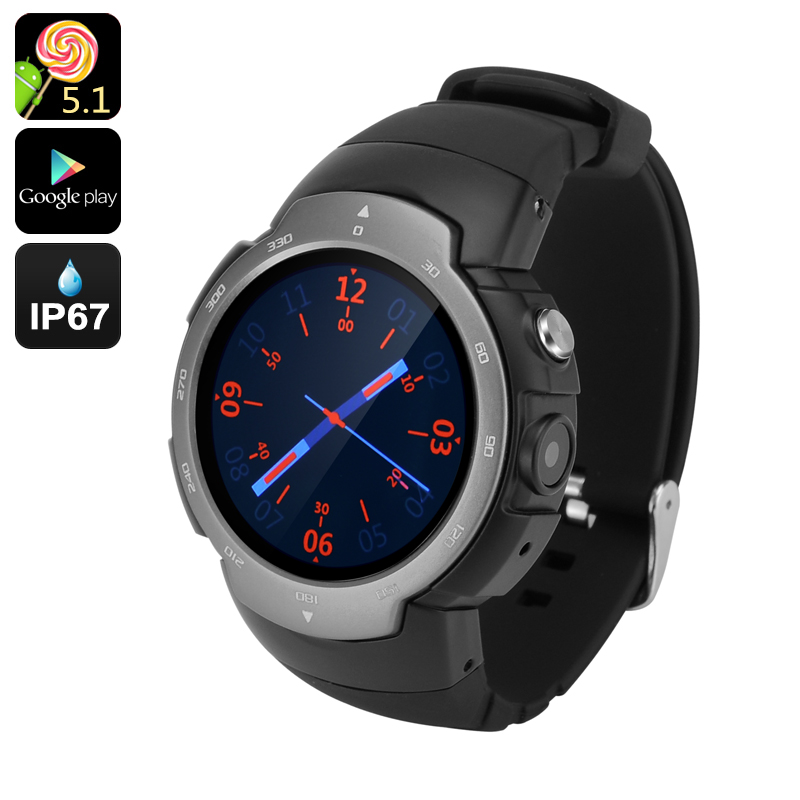 Android Phone Watch 'Z9' - GSM + 3G, 1.33 Inch Screen, Android 5.1, Google Play, IP67, 5MP Camera, Heart Rate Monitor (Grey)
