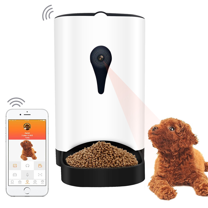 Automatic Food Dispenser - App Control, 1MP Camera, Speaker, 4.3L Barrel, Compatible With iOS And Android, For Dry Food