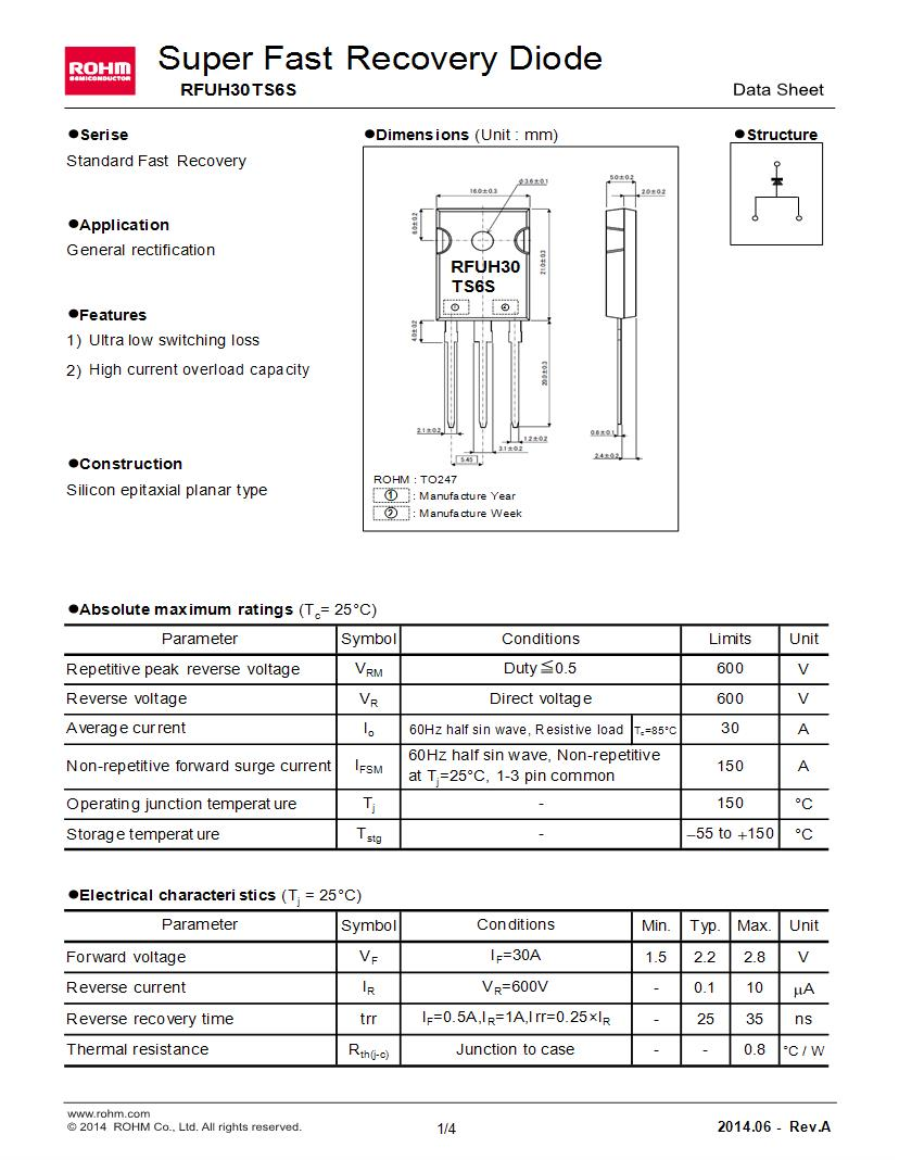 medium resolution of through hole 30 a single fast recovery rectifiers diodes general purpose power switching datasheets