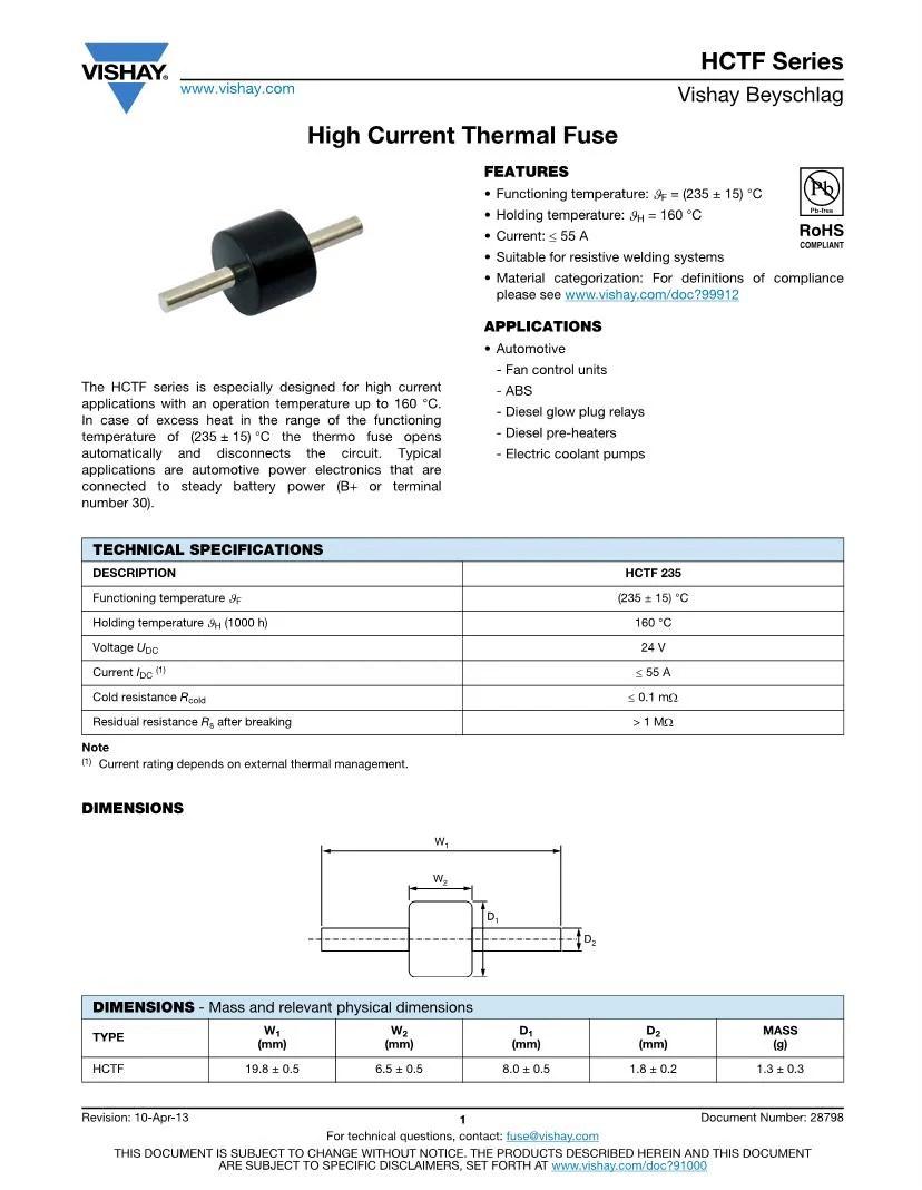 medium resolution of thermal fuse vishay specialty fuses datasheets