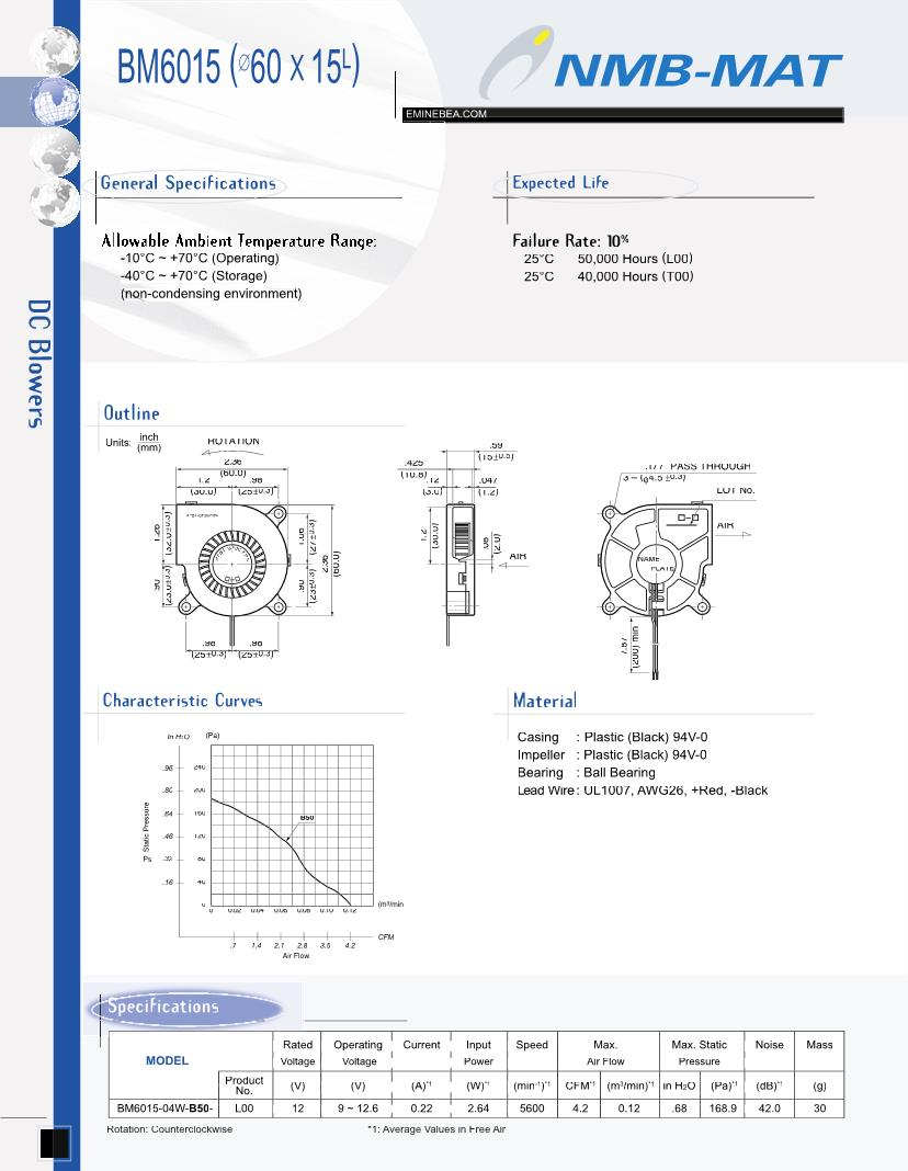 hight resolution of nmb technologies dc 12 vdc blowers datasheets