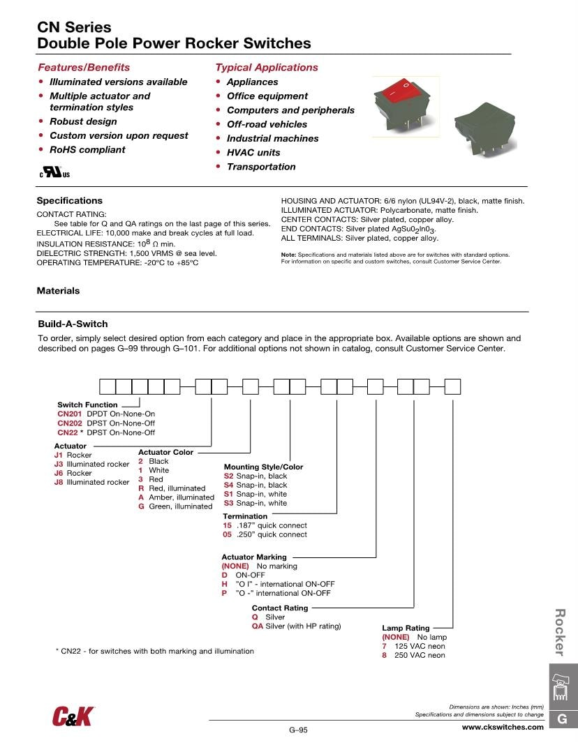 medium resolution of c k switches double pole power rocker switch non illuminated dpst on off rocker switches datasheets