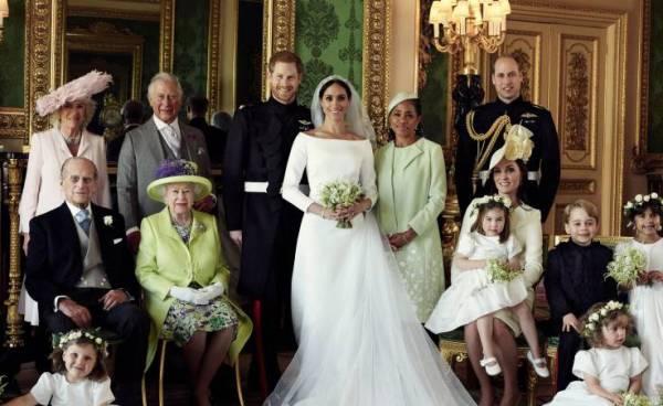Família Real Britânica no casamento do Príncipe Harry e da atriz Meghan Markle. As fotos oficiais foram divulgadas nas redes sociais da monarquia. Foto: Reprodução Internet