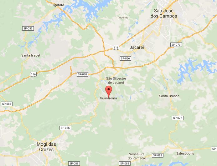 Mapa de Guararema no Interior de São Paulo