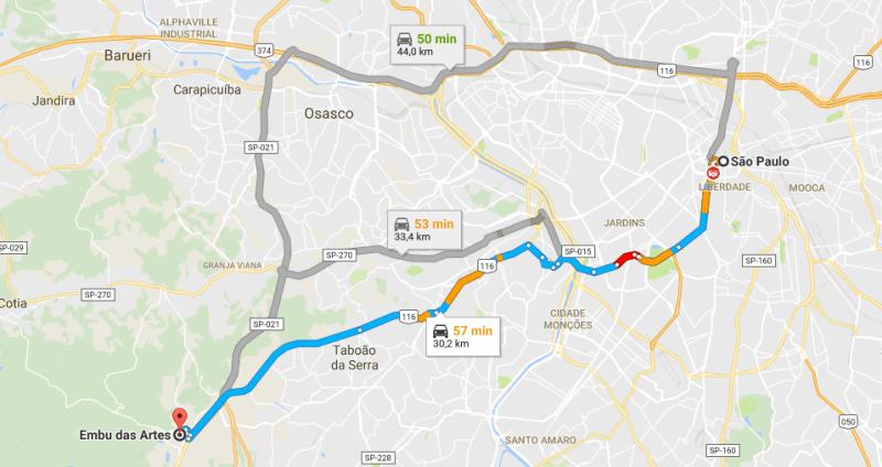 Mapa de São paulo para Embu das Artes