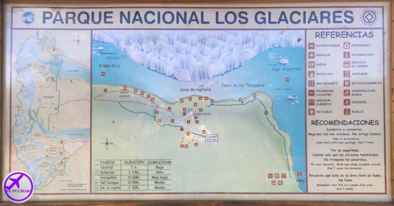 Mapa do Glaciar Perito Moreno - El Calafate - Argentina